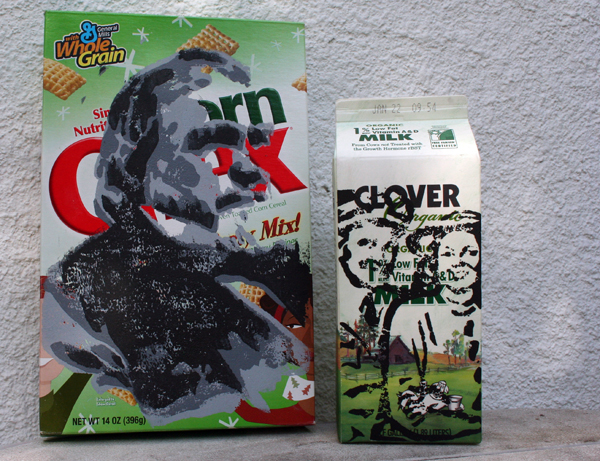 portraits printed and painted on cereal boxes and milk cartons