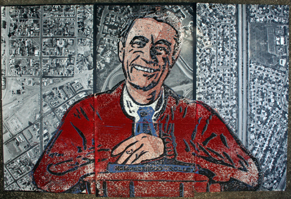Mr. Rogers printed on Caltrans photographs