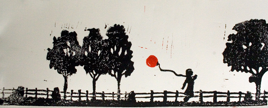 linoleum block print of a girl running through trees while holding a red balloon