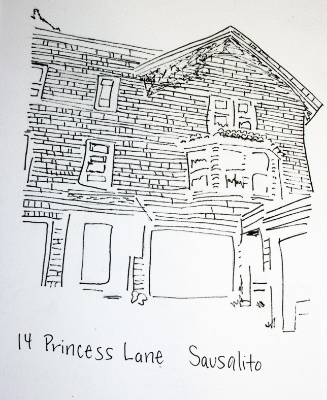 ink drawing of a house in sausalito