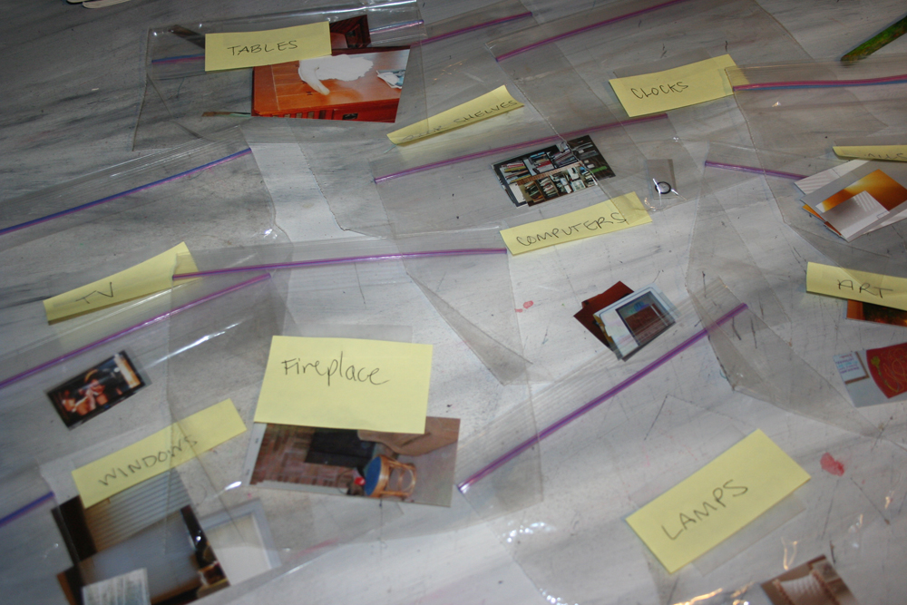 ziploc bags filled with photographs