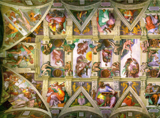 image of part of the ceiling of the sistine chapel