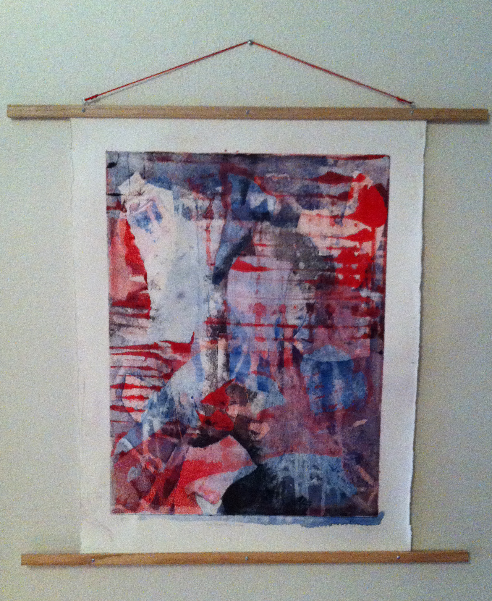 a monoprint with red, white, and blue colors in abstraction