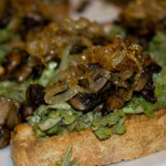 fava bean and caramelized onion crostini