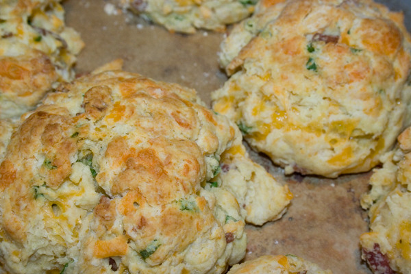 detail shot of cheddar chive bacon biscuits