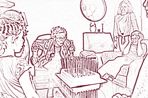a digital art piece of a woman blowing out birthday candles