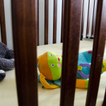 creative photo of toys laying down in a crib