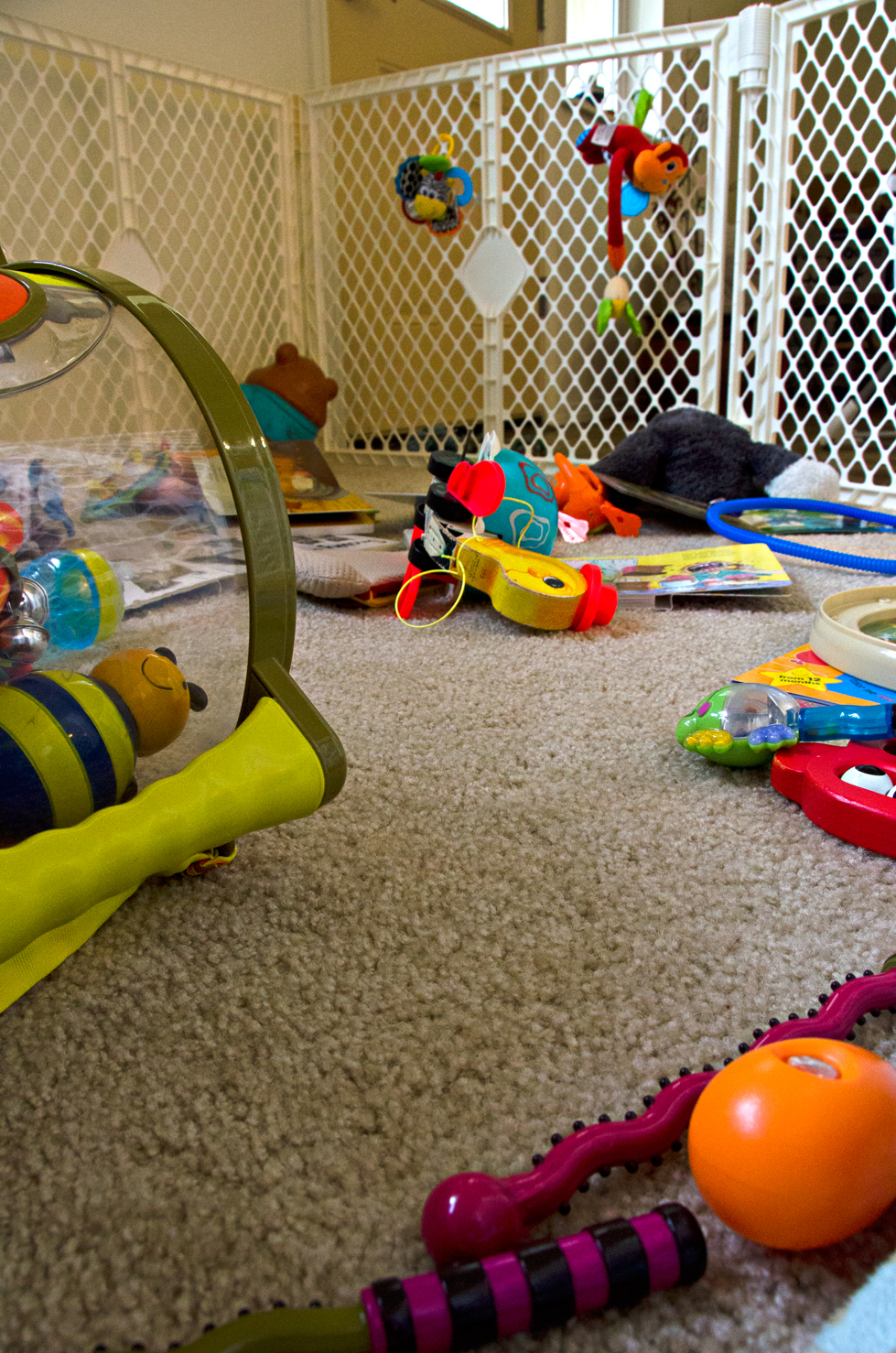 A playpen after a baby attack