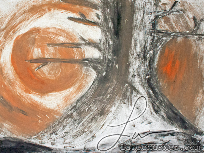 Harvest Moon - A Monotype by Lauren Odell Usher Sharpton